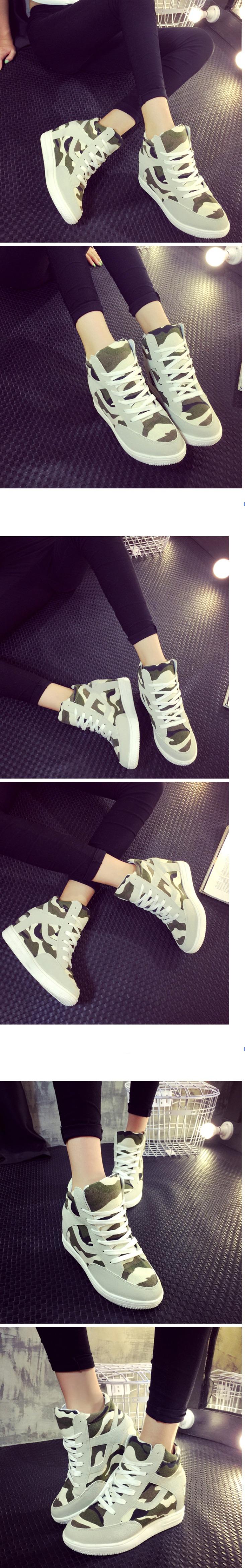 รองเท้าผ้าใบส้นสูงลายพราง