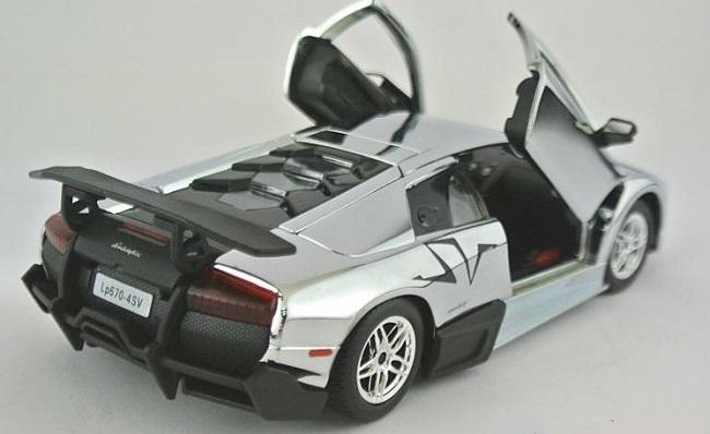 โมเดลรถ โมเดลรถยนต์ โมเดลรถเหล็ก Lamborghini LP670-4 silver 4