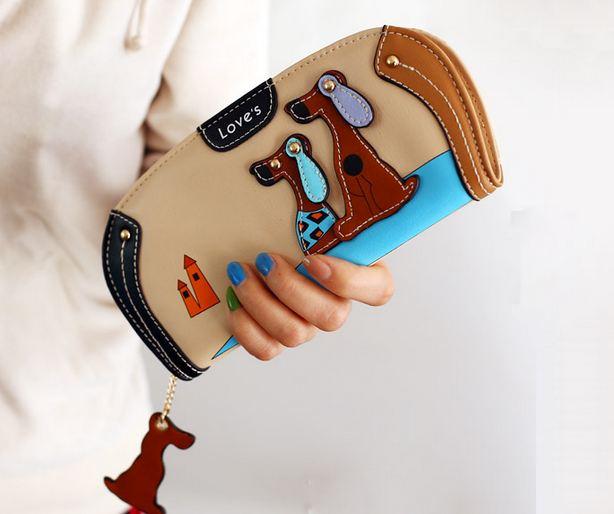 กระเป๋าสตางค์ผู้หญิง กระเป๋าสตางค์ใบยาว ดีไซน์ใหม่ แต่งโลโก้ ลายสุนัข 2 ตัว ลอยจากกระเป๋า ทรงโค้ง สีเบจ ครีม 560339_9