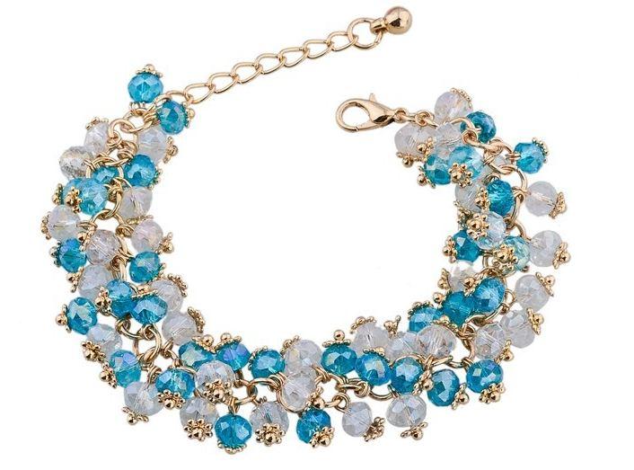 สร้อยข้อมือ คริสตัล ออสเตเรีย อัญมณี สีฟ้าใส สลับ สีขาว ประดับโซ่ทอง สวยหรู ของขวัญ ให้แฟน ลดราคา no 77336_4