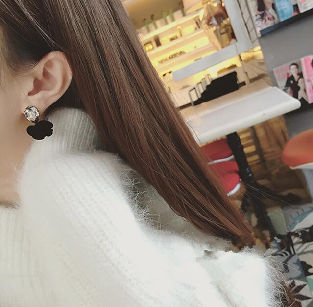 ต่างหู,ตุ้มหูแฟชั่นสไตล์เกาหลีคริสตัลรูปดอกกุหลาบสีดำ