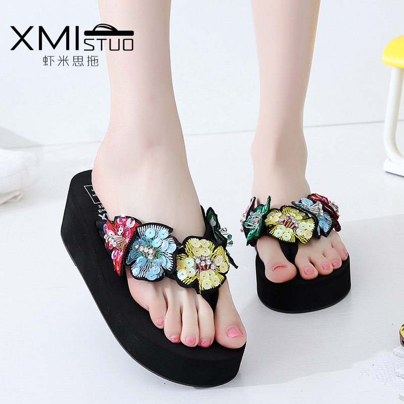 รองเท้าแฟชั่น รองเท้าแตะ รองเท้ามัฟฟิน slippers female high-heeled sandals