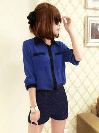 เสื้อเชิ้ต แขนสามส่วน เสื้อคอปก ผ้าชีฟอง แต่งสลับสี กับตัวเสื้อ เสื้อใส่เที่ยว ใส่ทำงาน ก็สวยเก๋ ค่ะ สีน้ำเงินปกดำ no 743723_3
