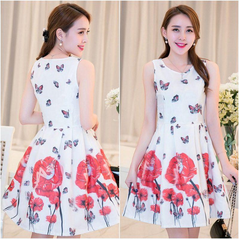 **สินค้าหมด Dress4016 ชุดเดรสทรงสวยผ้าลายเชิงพิมพ์ลายผีเสื้อดอกไม้สีแดงพื้นขาว ซิปข้างใส่ง่าย มีซับในอย่างดีทั้งชุด ผ้าชีฟองอัดลายเนื้อดีหนาสวยเกรดพรีเมียมมีน้ำหนักทิ้งตัวสวย ผ้าสวยเกินราคา งานดีเหมือนราคาหลักพัน แนะนำเลยจ้า