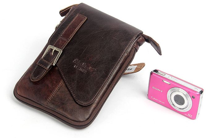 กระเป๋าคาดเอว ผู้ชาย แบบสายยาว สามารถสะพายข้าง หรือ ถอดสาย เป็น กระเป๋าห้อยกับ กางเกงได้ หนังวัวแท้ สีน้ำตาลเข้ม 722582