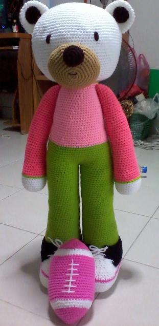 ตุ๊กตาถักไหมพรมหมีรักบี้