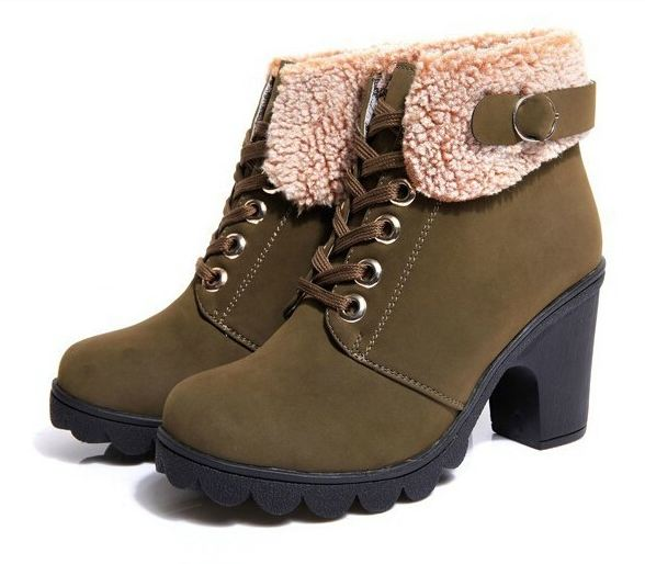 รองเท้าหุ้มส้น ผู้หญิง สไตล์ บูท นิด ๆ เพิ่มส้นรองเท้าเล็กน้อย ตกแต่งขนแกะที่ รอบข้อเท้า แฟชั่นญี่ปุ่น ใส่เช็มขัด เพิ่มความเท่ สีเขียวทหาร 8606672_2