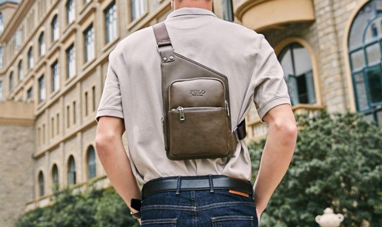 กระเป๋าคาดอก ผู้ชาย กระเป๋าหนัง polo ทรงแบน สไตล์ ยุโรป นักเรียนนอก กระเป๋าหนัง polo เรียบหรู มีสไตล์ 179167