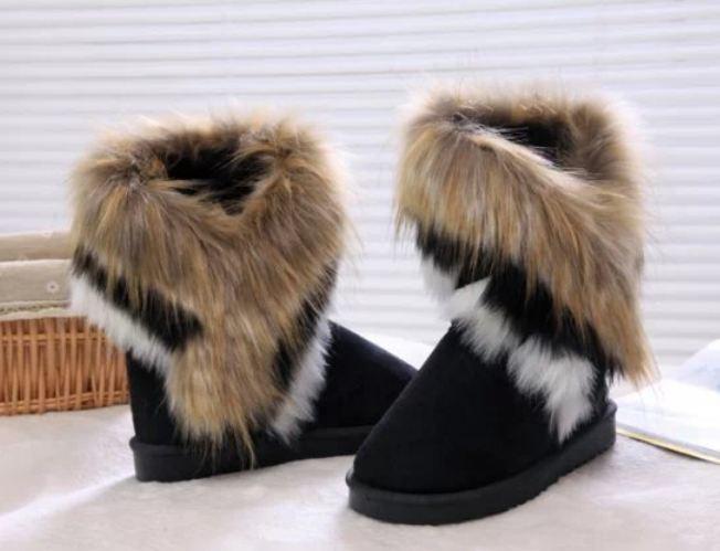 รองเท้าหุ้มส้นผู้หญิง รองเท้าบูท นิด ๆ ตกแต่งขนเฟอร์ ขนกระต่ายสีน้ำตาล ที่ข้อ รองเท้าแฟชั่น หุ้มส้น สไตล์สาว วินเทจ สีดำ 96015