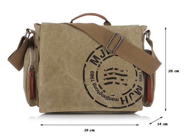 กระเป๋าสะพายข้างผู้ชาย ผ้า canvas ผ้ายีนส์ แข็งแรง ทนทาน กระเป๋าสะพายข้างวัยรุ่น ไปเรียน ไปเที่ยว สีกากี สีน้ำตาล สีเขียวทหาร no 742771