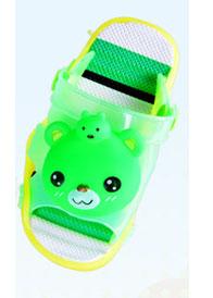 รองเท้าแตะเด็ก มีไฟส้นเท้า หมีสีเขียวบีบหัวมีเสียง Size 15-20