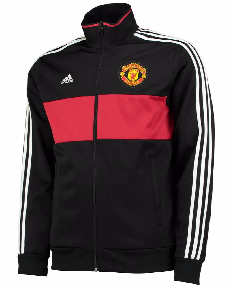 เสื้อแจ็คเก็ตแมนเชสเตอร์ ยูไนเต็ด Manchester United 3 Stripe Track Top สีดำของแท้
