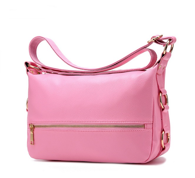 [ Pre-Order ] - กระเป๋าแฟชั่น สะพาย สีชมพูอ่อน ทรงสี่เหลี่ยมใบกลางๆ ดีไซน์สวยเรียบหรู ดูดี งานหนังคุณภาพ คุ้มค่าการใข้งาน