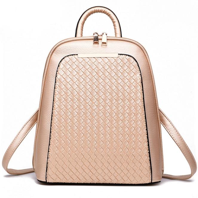 [ ลดราคา ] - กระเป๋าเป้แฟชั่น นำเข้าสไตล์เกาหลี สีบรอนซ์ทอง ทรงเก๋ ๆ ใบกลางสะพายหลัง หนังคุณภาพสวยแบบอัดลายสานสวย น่ารักมากๆค่ะ