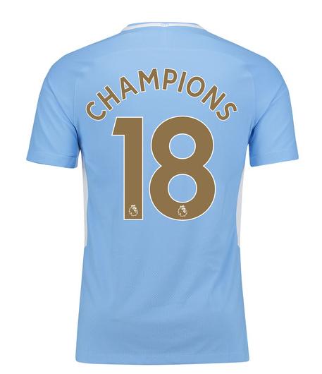 เสื้อแมนเชสเตอร์ ซิตี้ 2017-18 พิมพ์ CHAMPIONS 18 ฟอนท์ทอง เวอร์ชั่นนักเตะของแท้