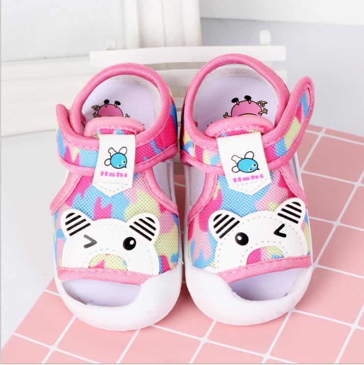 รองเท้ารัดส้น เปิดหน้าระบายอากาศ ลายหมีสีชมพู Size 17-22