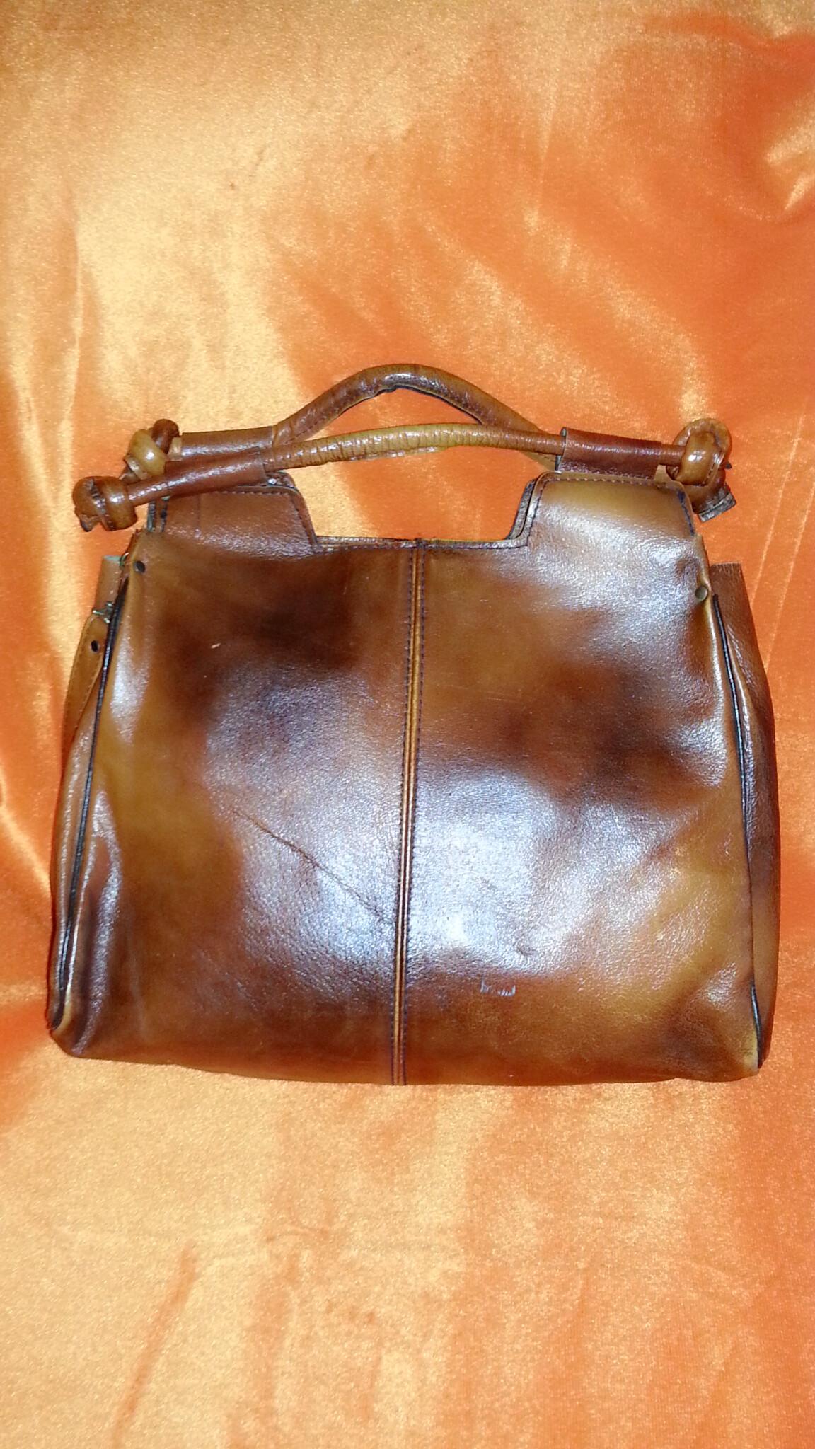 ขายแล้วค่ะ B37:Vintage leather bag กระเป๋าหนังแท้ใบใหญ่ใช้สะพายหรือถือ&#x2764
