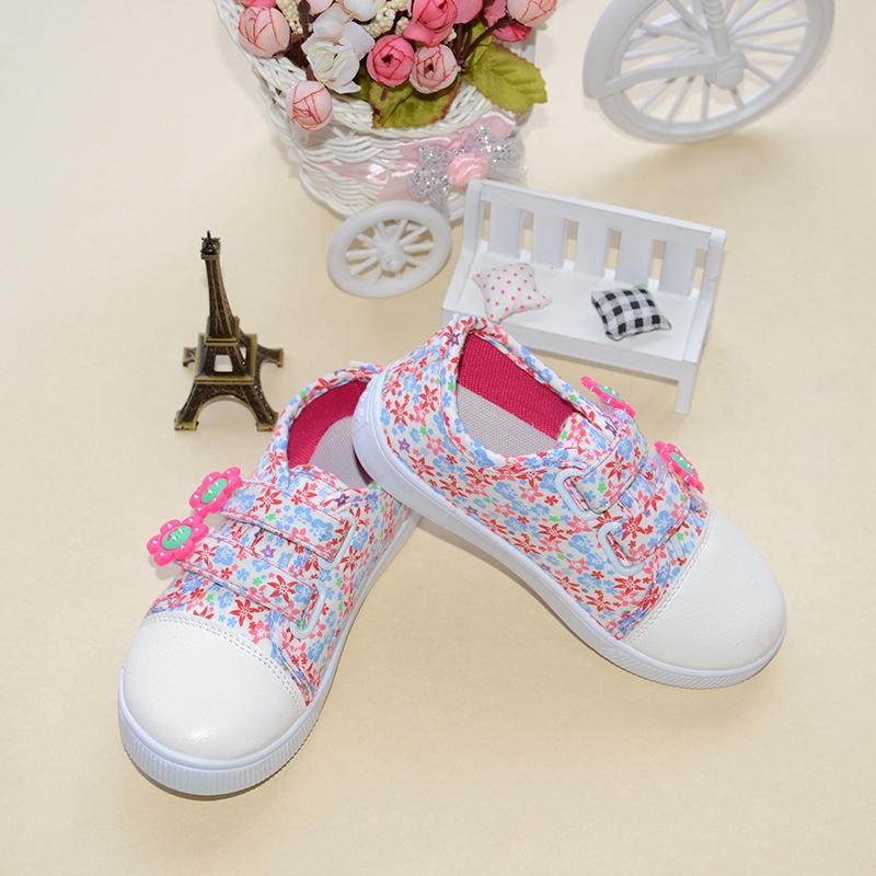 รองเท้าผ้าดอกไม้สีชมพูน่ารัก เด็กหญิง Size 26-31