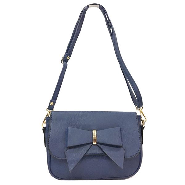[ ลดราคา ] - กระเป๋าแฟชั่น สะพายไหล่ สีน้ำเงินเข้ม แต่งโบว์ด้านหน้า ไซส์มินิ ขนาดกระทัดรัด ดีไซน์สวยโดดเด่นไม่ซ้ำใคร