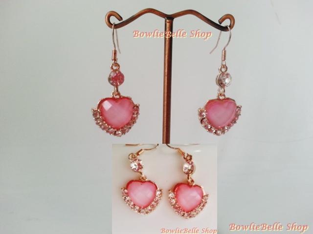 Pink Heart Diamond Earrings ต่างหุเพชร สีชมพู