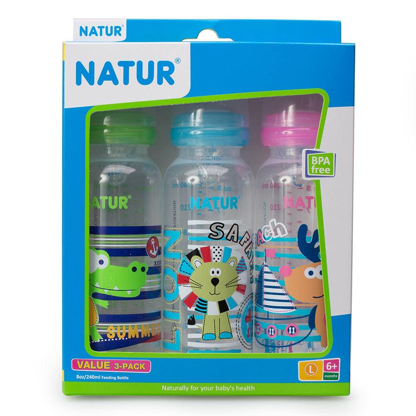 ขวดนม BPA-free พิมพ์คละลาย Natur 8 oz. แพค 3 ขวด