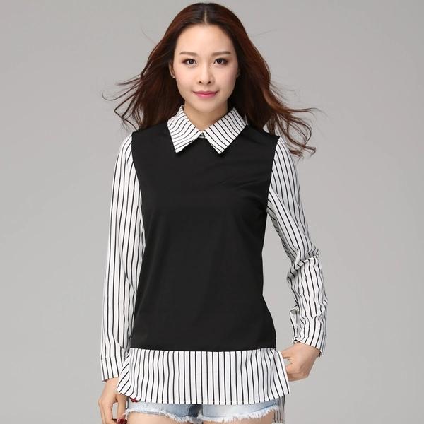 เสื้อเชิ้ตตัดต่อผ้าลายทาง สีดำ (XL,2XL,3XL,4XL)