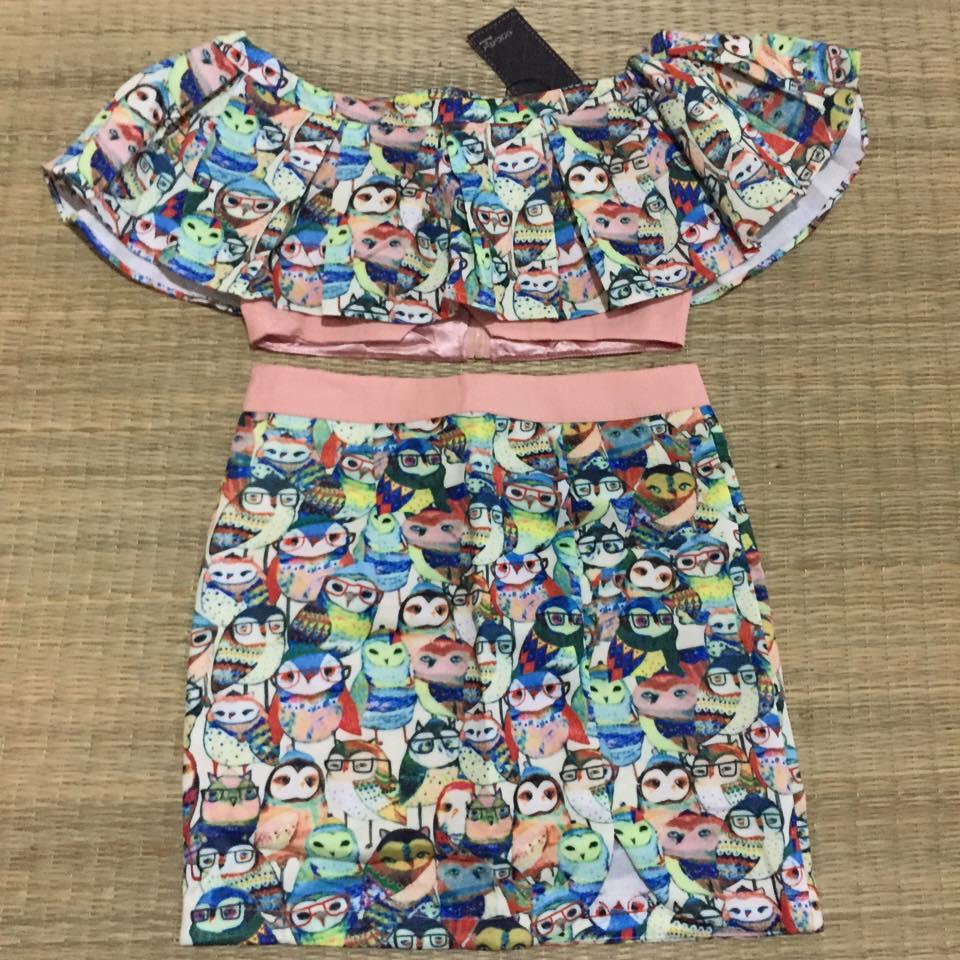 """M """"พร้อมส่ง""""เสื้อผ้าแฟชั่นราคาถูก Brand Nokara set 2 ชิ้น เสื้อเกาะอกระบาย มีซิปหลัง +กระโปรง ซิปหลัง มีซับใน ลายนกฮูก น่ารักมากๆ -size M"""