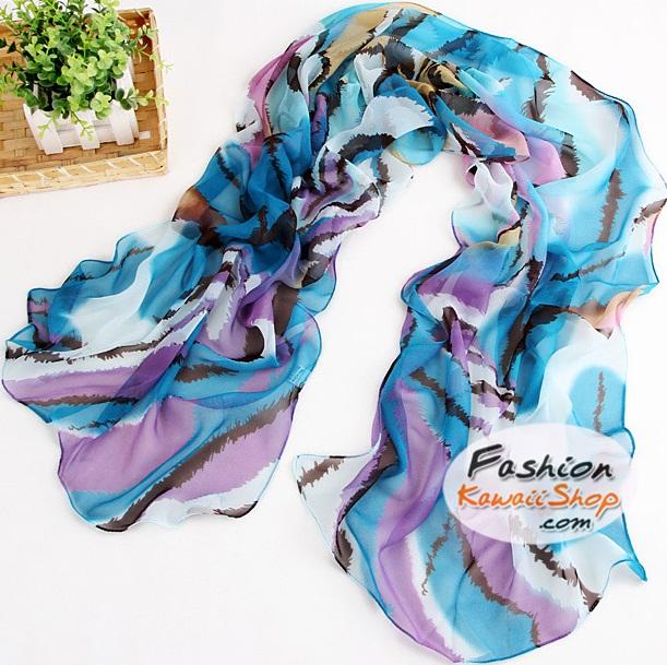 ผ้าพันคอแฟชั่นผ้าพันคอสวยหรู Luxury : สีฟ้า CK0012