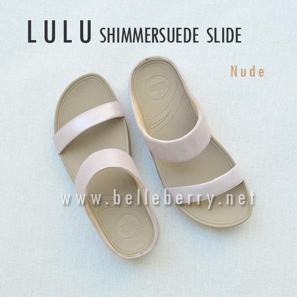 รองเท้า FitFlop Lulu Shimmersuede Slide : Nude : Size US 7 / EU 38