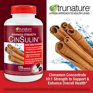 Trunature-CINSULIN 170เม็ด รักษาระดับน้ำตาลในเลือด ด้วยสูตรลิขสิทธิ์ CINNAMON+CHROMIUM (exp.02/2021) มาแล้วจ้า