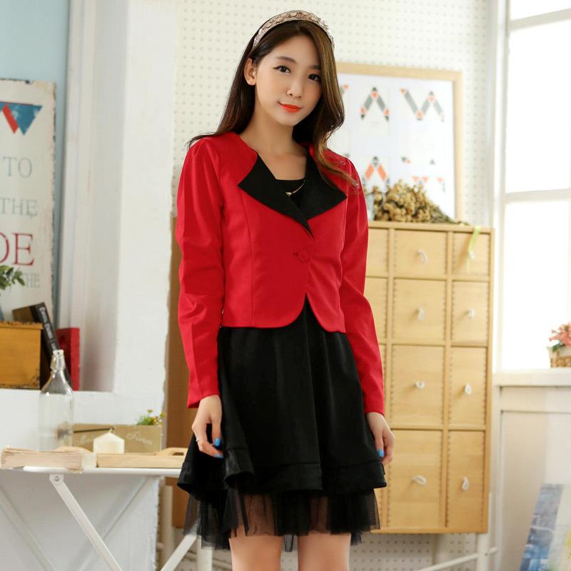 ชุดเซ็ท 2 ชิ้น ชุดเดรสสีดำ+เสื้อคลุมสีแดง (XL,2XL,3XL)