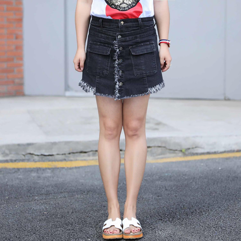 กางเกงกระโปรงยีนส์ขาสั้นสีดำแฟชั่นสาวอวบ (XL,2XL,3XL,4XL) ZXN021