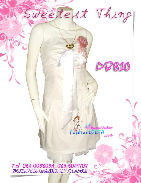 ก๊อปงานForever21 PrettyDress: DB810 ใหม่! ชุดแซก/เดรสเกาะอกผ้าสแปนเด็กส์สไตล์หรูชายผ้าโปร่ง อกผูกโบซาตินสวยหรูมาก สีขาว