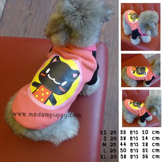 เสื้อกันหนาวสุนัข ทูโทน ลายแมว (พร้อมส่ง)