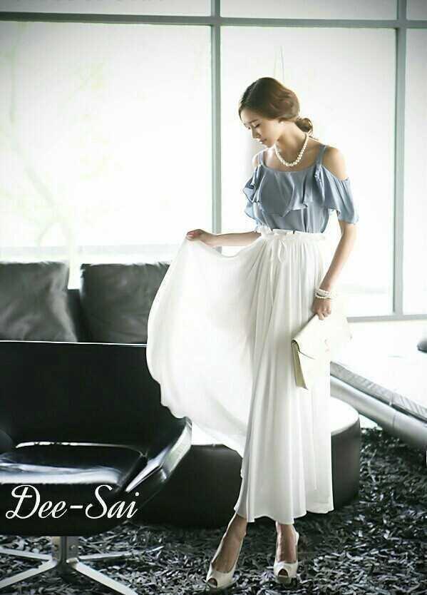 Maxi Dress Long Style Korea Two Tone