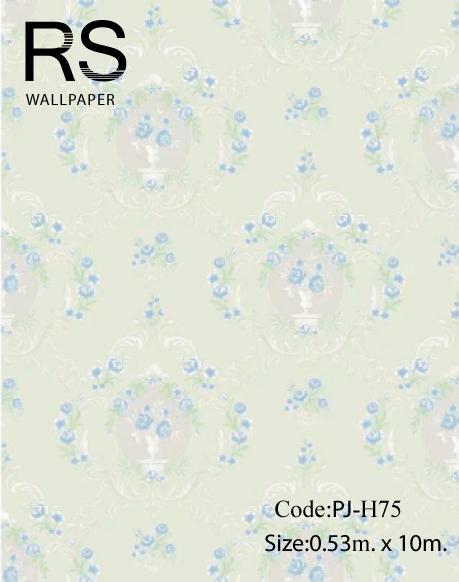 วอลเปเปอร์ ลายดอกไม้วินเทจ พื้นสีฟ้าอ่อน No.PJ-H75