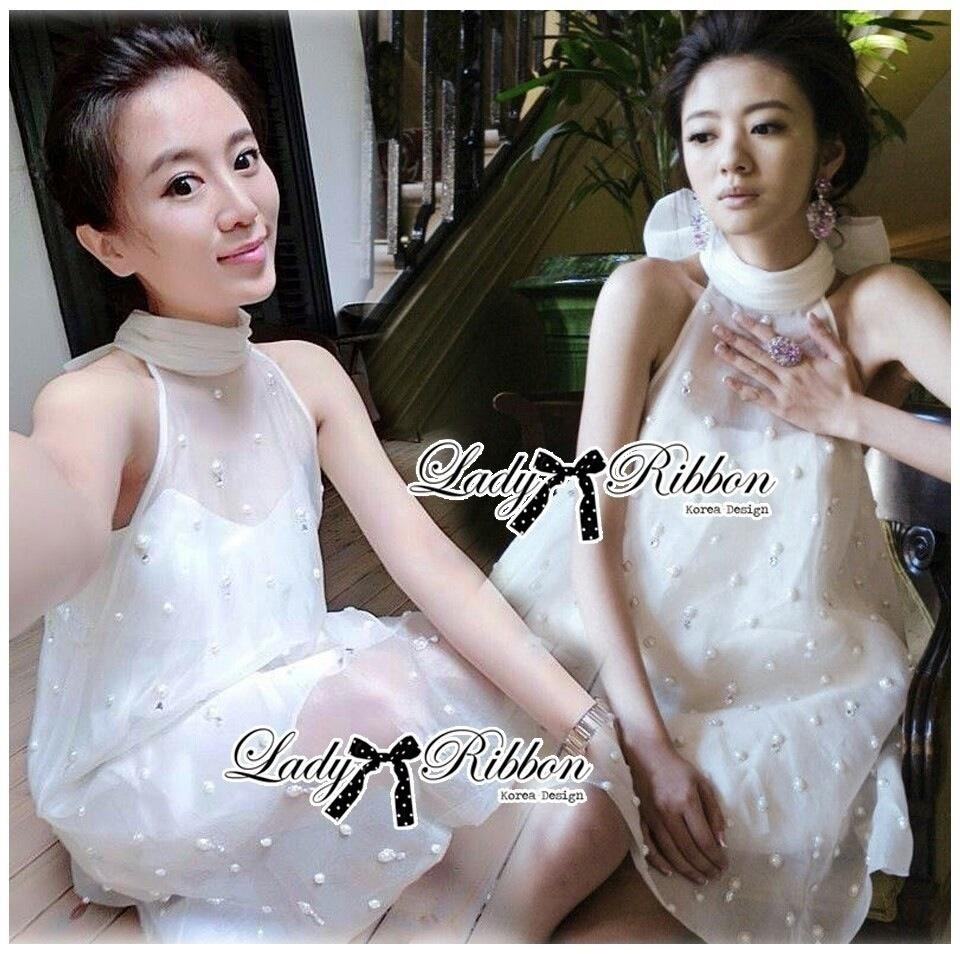 Lady Ribbon's Made Lady Florence Gorgeous Pearl Embellished with Ribbon Dress in White