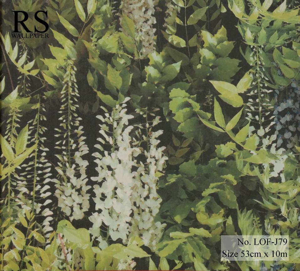วอลเปเปอร์ติดผนังลายพุ่มดอกไม้ สีเขียวฟ้า LOF-J79