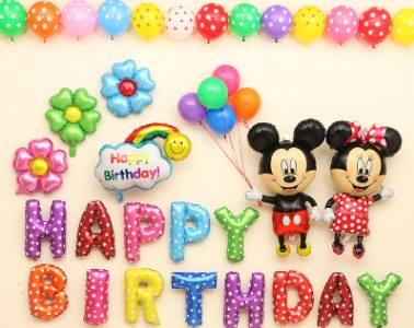 BIRTHDAY PARTY ลูกโป่งพร้อมป้ายจัดปาร์ตี้วันเกิดรูป 🌈Mickey & Minnie ลายลิขสิทธิ์ สีสันสดใส