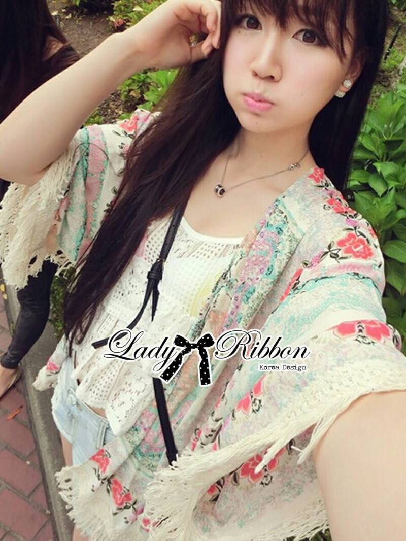 Lady Ribbon's Made Lady Anne Fringe Floral Printed Poncho
