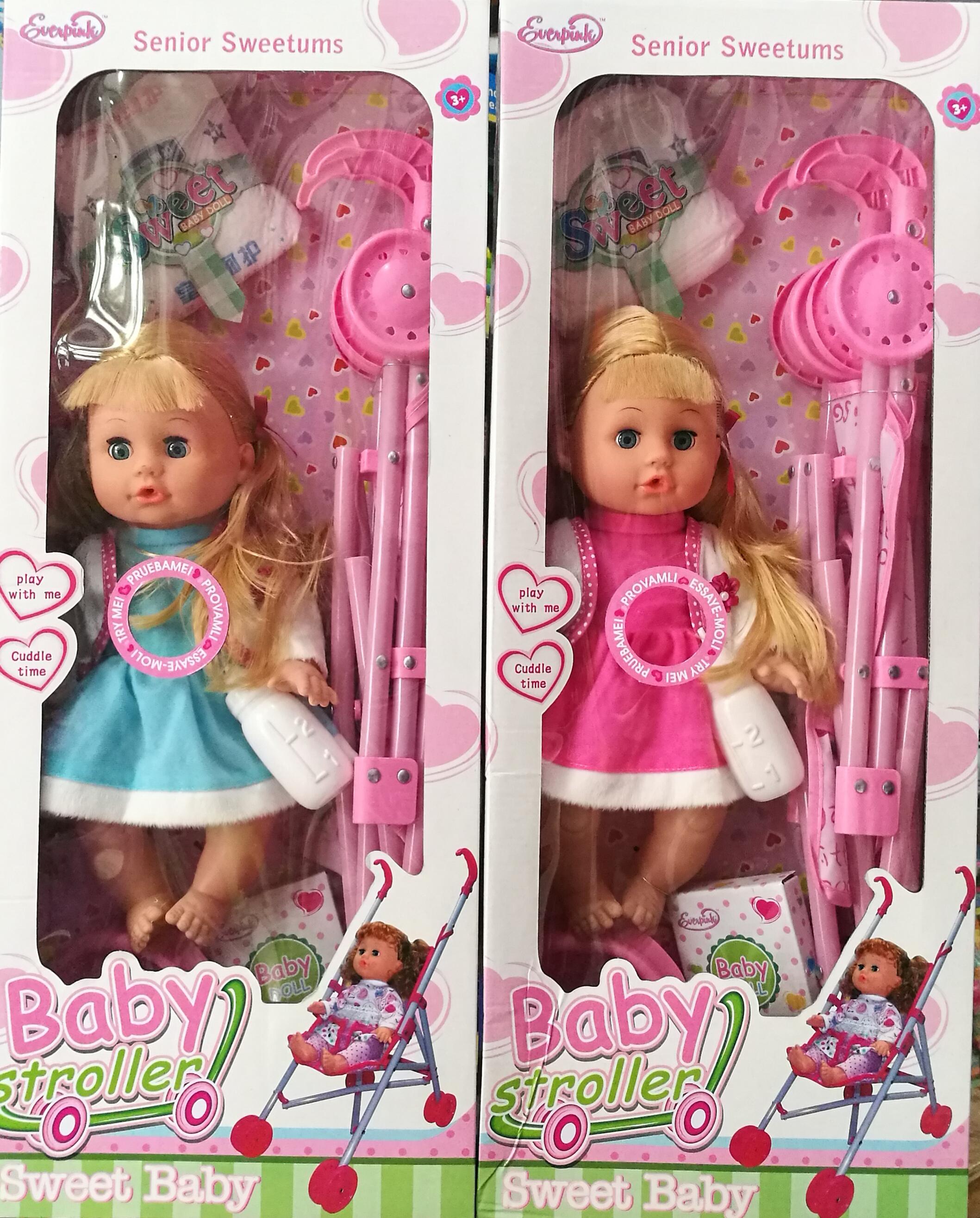 พร้อมส่ง ตุ๊กตากินฉี่รถเข็น baby stroller มีเสียงมีไฟ ส่งฟรี