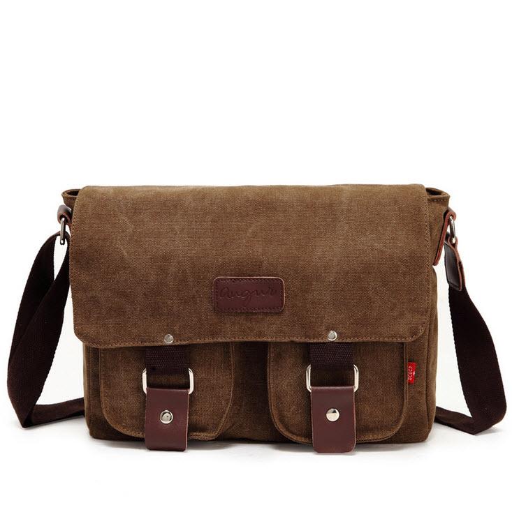 พร้อมส่ง สีกาแฟ กระเป๋าสะพายข้าง ผ้าแคนวาสสุดเท่ห์ ใส่iPad ได้ กระเป๋าใบขนาดกลาง กระเป๋าทรงคลาสสิค Retro Style