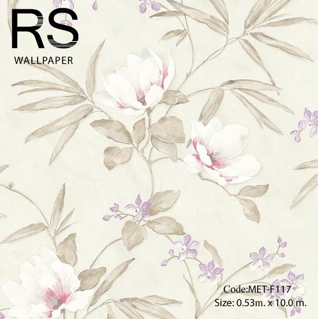 วอลเปเปอร์ลายดอกไม้ภาพวาดโทนสีน้ำตาลอ่อนเทา MET-F117