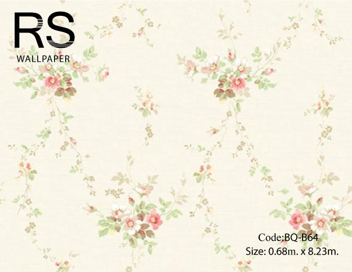 วอลเปเปอร์ลายดอกไม้ช่อวินเทจดอกสีชมพูขาว ใบสีเขียวอ่อนพื้นสีชมพูอ่อนขาว BQ-B64