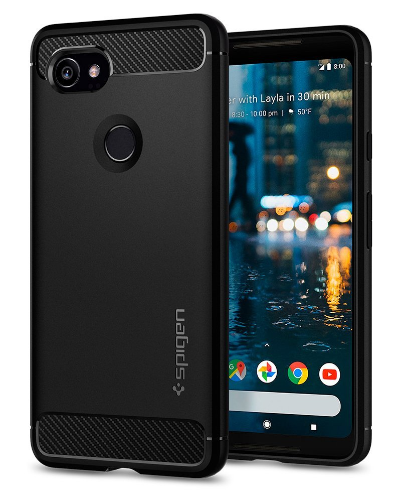 Spigen Rugged Armor Google Pixel 2 XL Case with Resilient Shock Absorption and Carbon Fiber