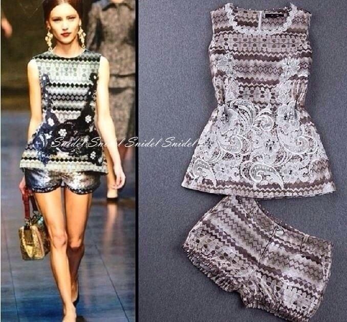 Embroidery beads retro shirt Shorts Set.