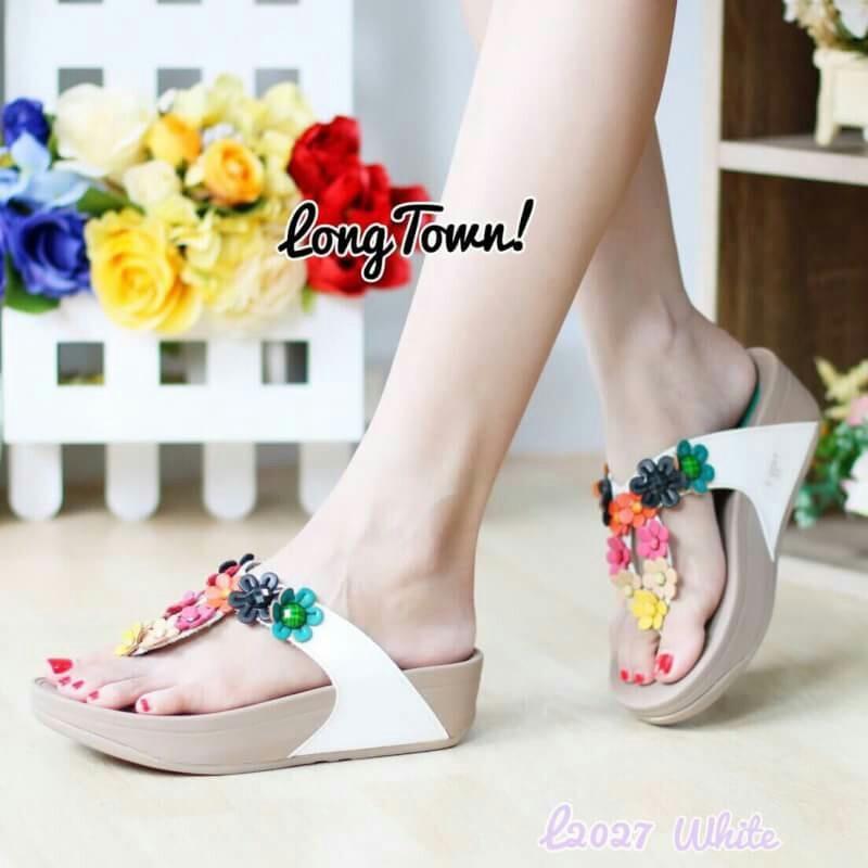 รองเท้าแฟชั่นสไตล์ fitflop หูคีบแต่งดอกไม้น่ารัก
