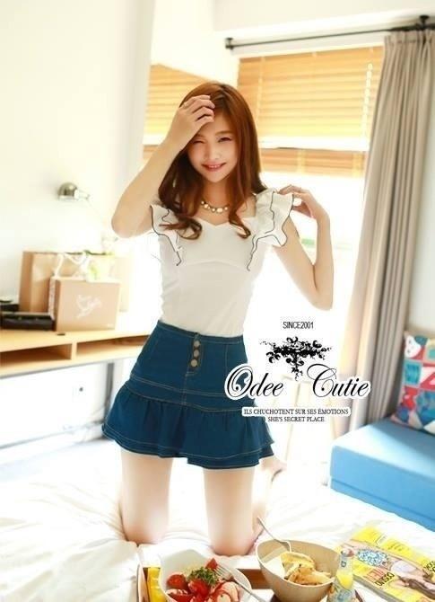 언발 나시블라우스 Angel wing blouse and denim short&#x2605 &#x2661Odee&Cutie Daily Fashion 2014&#x2661
