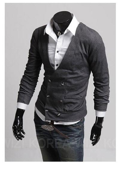 พร้อมส่ง เสื้อคลุมผู้ชาย สีเทา คอวี กระดุมหน้า ออกแบบเท่ห์