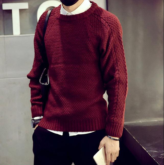 เสื้อไหมพรม สีแดง คอกลม แขนยาว สเวตเตอร์ผู้ชาย ผ้านุ่ม ใส่กันหนาว
